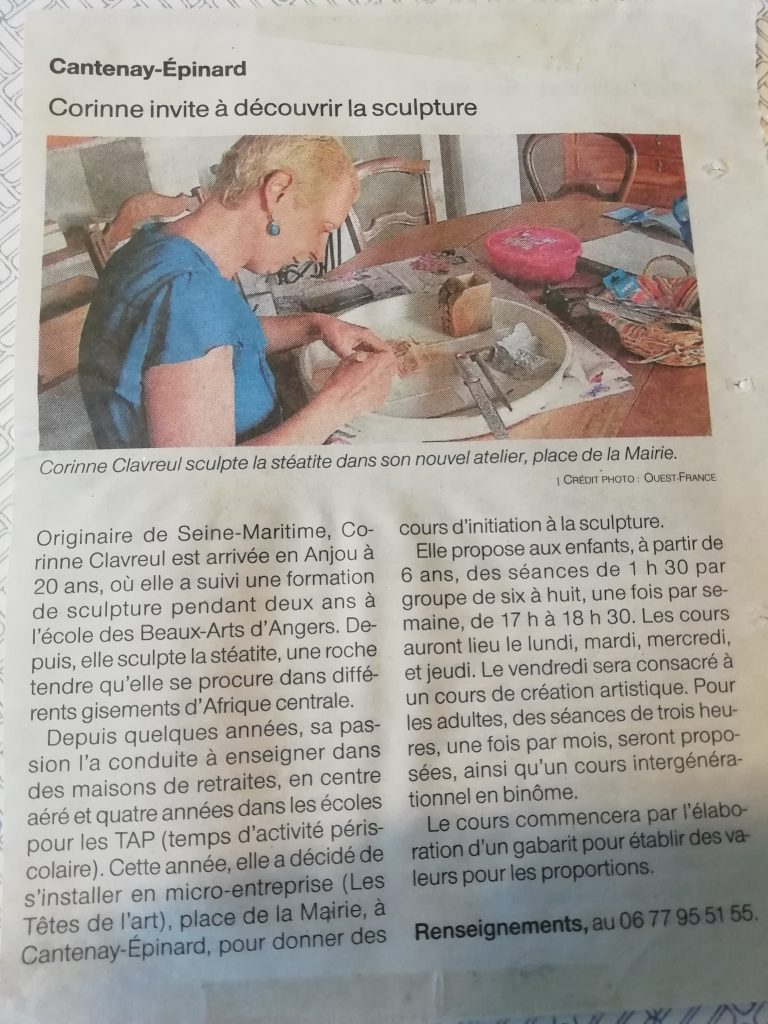 La sculpture de Corinne 49 - Article presse 2019